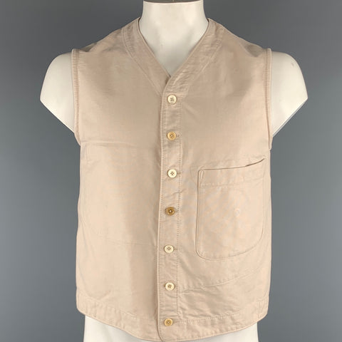 45rpm Size L Beige Solid Cotton Buttoned Vest