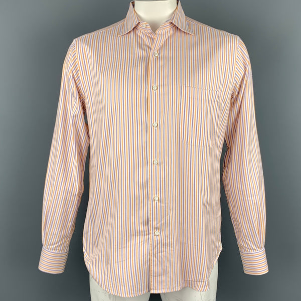 LORO PIANA Size L Purple & Orange Stripe Cotton Button Up Long Sleeve Shirt