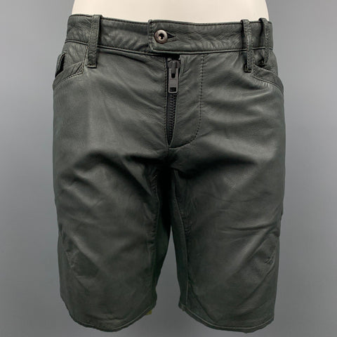 NICE COLLECTIVE Size 36 Slate Gray Aged Leather Shorts