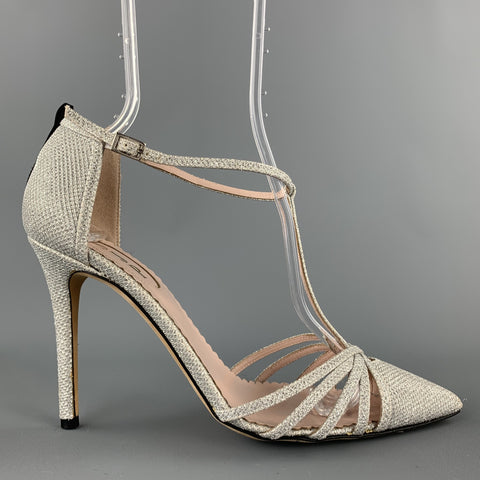 SJP Size 9 Silver Metallic Fabric T- Strap Carrie Pumps