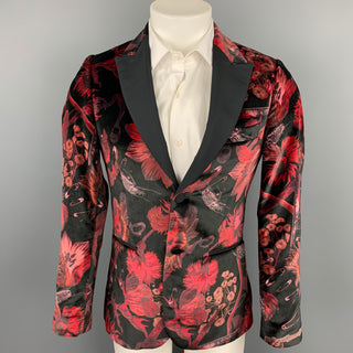 PAUL SMITH Soho Fit Size 36 Burgundy & Black Print Velvet Peak Lapel Sport Coat