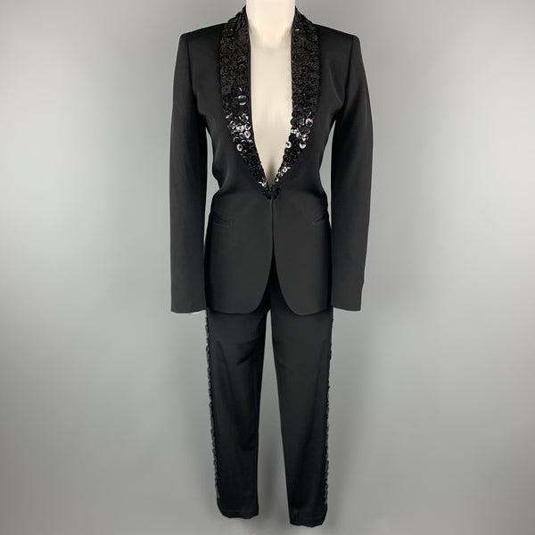JEAN PAUL GAULTIER Size 6 Black Wool Button Shawl Collar Pants Suit
