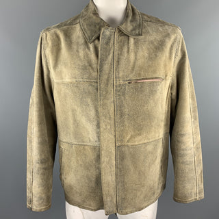MB ITALIA Size L Taupe Distressed Suede Oversized Jacket