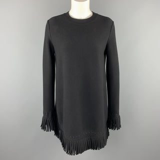 ALAIA Size 6 Black Wool Blend Fringe Trim Mini Dress