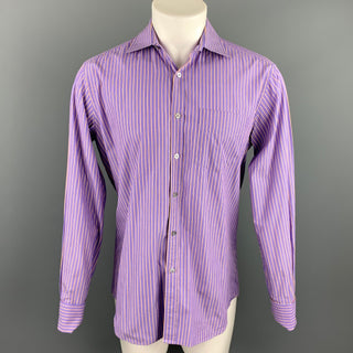 PAUL SMITH Size M Purple Stripe Cotton French Cuff Long Sleeve Shirt