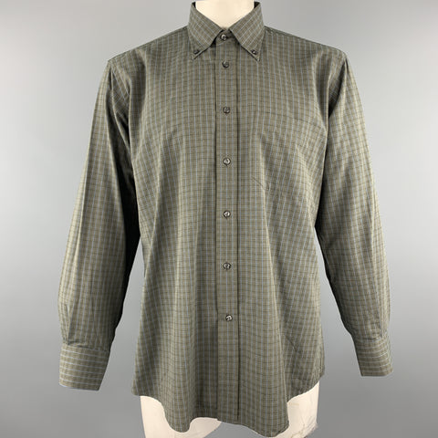 LUCIANO BARBERA Size L Dark Gray Window Pane Cotton Long Sleeve Shirt