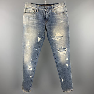 DOLCE & GABBANA Size 30 Blue Distressed Denim Zip Fly Jeans