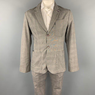 PAUL SMITH JEANS Size L Grey Plaid Cotton Notch Lapel Suit