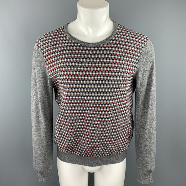 RODA Size M Grey Dots Wool / Cashmere Crew-Neck Pullover