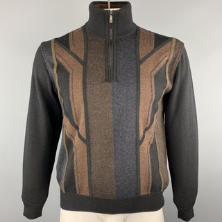DALMINE Size S Black & Brown Color Block Merino Wool Half Zip Pullover