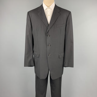 PRADA Size 48 Long Black Stripe Wool Notch Lapel Suit