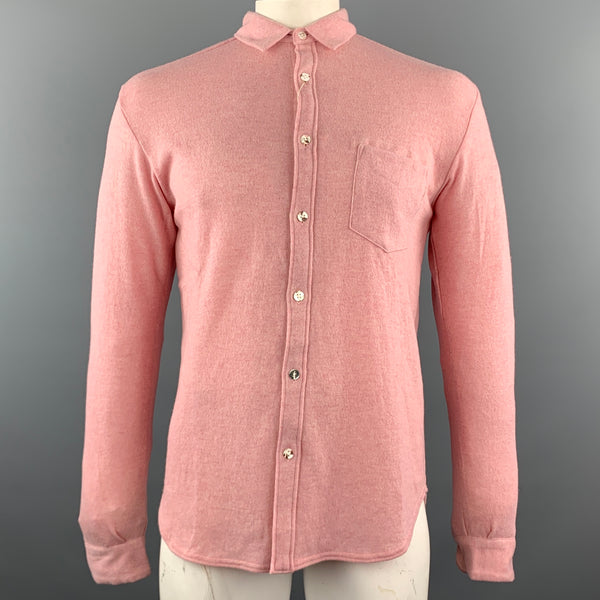 KAPITAL Rose Pink  Knitted Wool Button Up Size L Long Sleeve Shirt