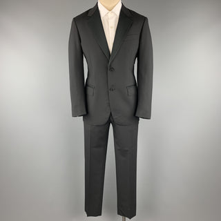 LANVIN Size 38 Black Satin Notch Lapel Two Piece Tuxedo