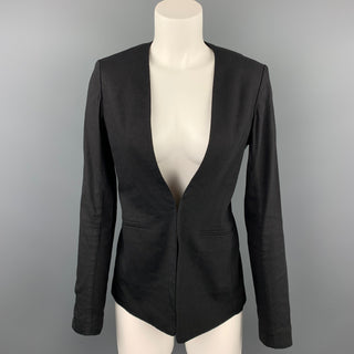 THEORY Size 4 Black Linen Blend Collarless Open Front Jacket