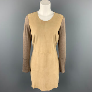 REBECCA TAYLOR Size 6 Taupe Two Toned Lyocell Shift Dress