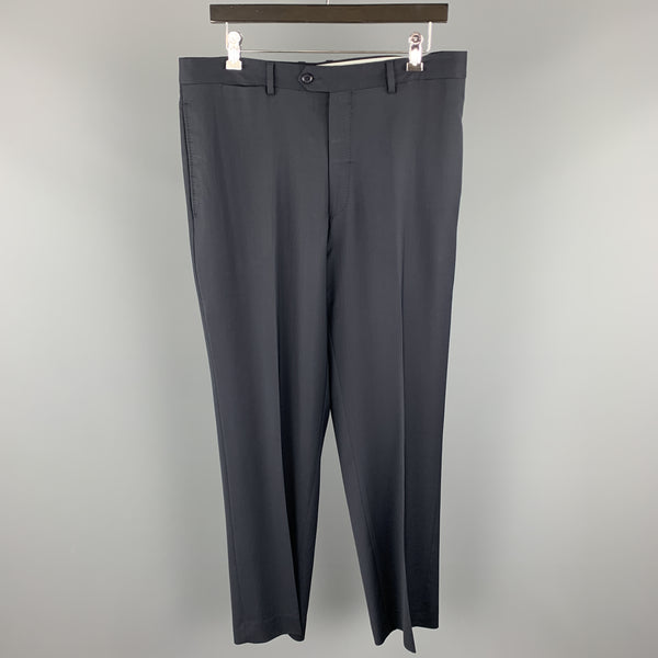 SANTORELLI Size 36 Navy Solid Wool Dress Pants