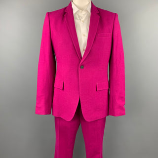 HAIDER ACKERMANN Size 42 Raspberry Wool Notch Lapel Suit