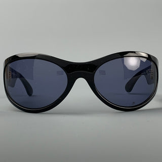 GIORGIO ARMANI Black Acetate Oval Sunglasses