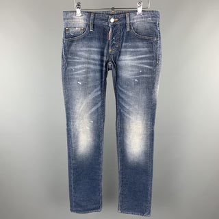 DSQUARED2 Size 32 Blue Washed Corduroy Distressed Jeans