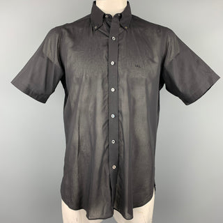 TURNBULL & ASSER Size XL Black Cotton Button Down Short Sleeve Shirt
