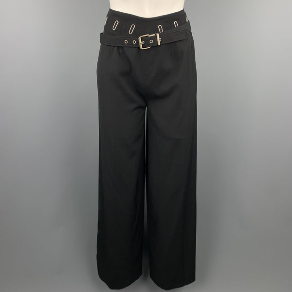 Vintage JEAN PAUL GAULTIER Size 8 Black Wool Blend Belted Dress Pants