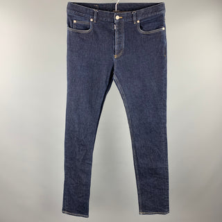 MAISON MARGIELA Size 32 Indigo Contrast Stitch Denim Button Fly Jeans