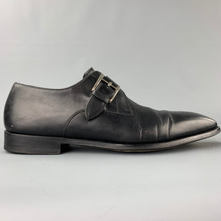 SAKS FIFTH AVENUE by MAGNANNI Size 11.5 Black Perforated Leather Monk Strap Loafers