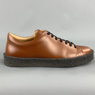 JIL SANDER Size 10 Whiskey Brown Leather Rubber Sole Lace Up Shoes