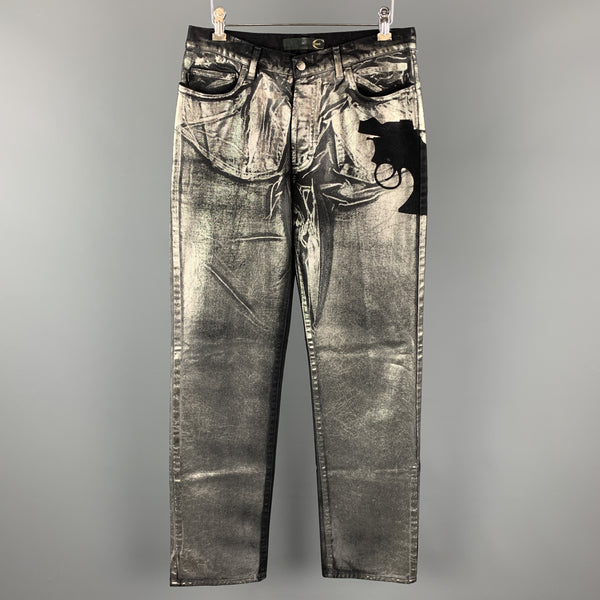 JUST CAVALLI Size 30 Black & Silver Metallic Painted Denim Pistol Jeans