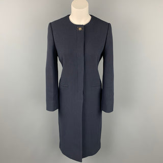 SALVATORE FERRAGAMO Size 4 Navy Wool / Silk Collarless Hidden Button Coat