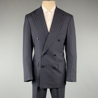 ISAIA Chest Size 40 Long Navy Stripe Wool Peak Lapel 32 34 Suit