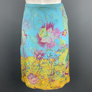 VALENTINO Size 6 Turquoise Floral Chiffon Silk A-line Skirt