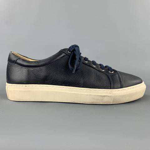 ALPHAKILO Size 8 Navy Leather Lace Up Sneakers