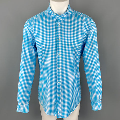 RALPH LAUREN Size S Aqua Checkered Cotton Spread Collar Button Up Long Sleeve Shirt