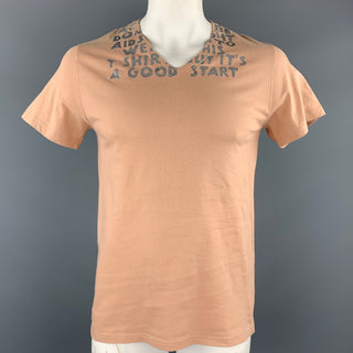 MARTIN MARGIELA Size L Tan Aids Fight Graphic Cotton V-Neck T-shirt