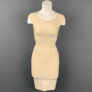 HERVE LEGER Size XS Cream Rayon Blend Bandage Marina Cocktail Dress