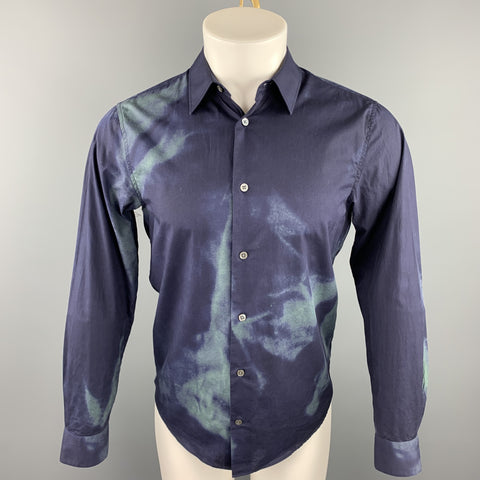 ACNE STUDIOS Size XS Navy & Green Dyed Cotton Button Up Long Sleeve Shirt