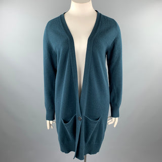 HERMES Size 10 Dark Green Knitted Cashmere Buttoned Cardigan