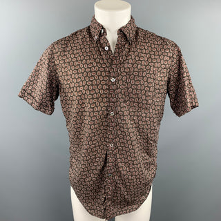 JUNYA WATANABE Brown Paisley Cotton Button Down Short Sleeve Shirt