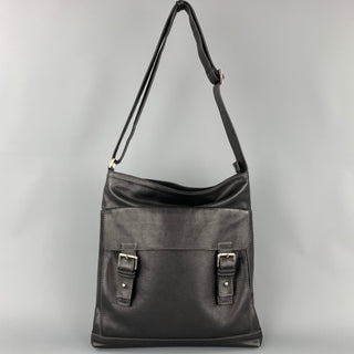 LOPEZ MORENO Black Contrast Stitch Leather Shoulder Bag