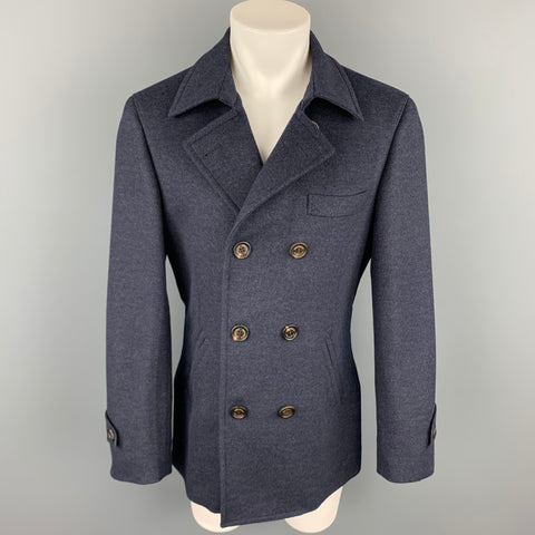 BRUNELLO CUCINELLI Size 40 Navy Cashmere Double Breasted Peacoat