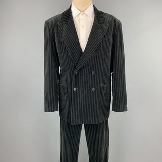 GASPAR SALDANHA Size 44 Regular Black Stripe Velvet Peak Lapel Suit