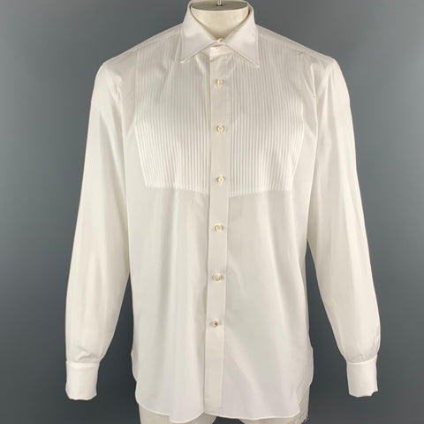 ISAIA Size XL White Solid Cotton Tuxedo Long Sleeve Shirt