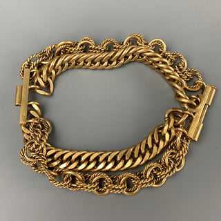 VINTAGE Gold Tone Metal Layered Chain Bracelet