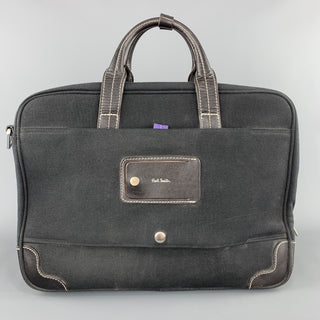 PAUL SMITH Contrast Stitch Black Canvas Leather Trim Work Bag