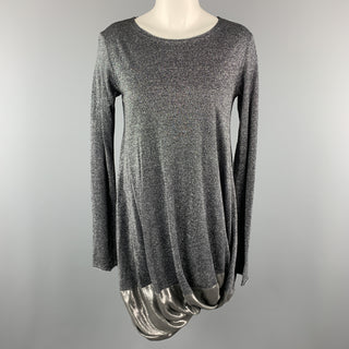 HACHE Size 6 Silver Wool Blend Metallic Long Sleeves Bubble Hem Dress
