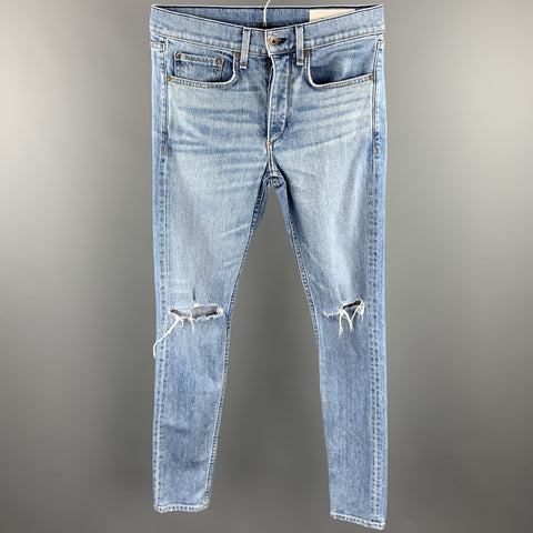 RAG & BONE Size 29 Indigo Washed Cotton / Polyurethane Button Fly Jeans