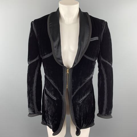 Vintage JEAN PAUL GAULTIER Size 38 Black Velvet Zip Up Shawl Jacket