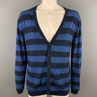 ARMAND BASI Size XL Navy & Blue Stripe Cotton Buttoned Cardigan