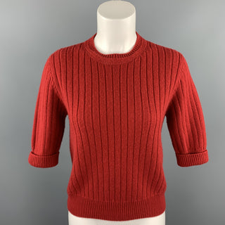 BOTTEGA VENETA Size M Red Knitted Cashmere / Wool Short Sleeve Pullover